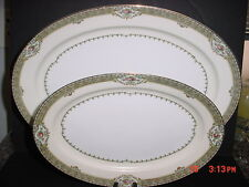 "MEITO FINE CHINA ANNETTE PATTERN SERVING PLATTERS 16"" & 12"" (2) PLATTERS (FS)"
