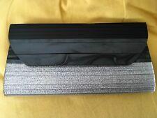 MIMCO smooth hard case clutch purse evening bag black&silver strap unused
