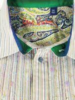 Robert Graham Mens Pastel Stripes Floral Long Sleeve Flip Cuff Shirt Size 2XL