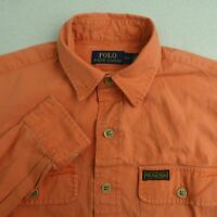 Polo Ralph Lauren Button Up Shirt Mens S Orange Long Sleeve Double Chest Pockets