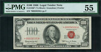 """1966 $100 Legal Tender FR-1550* - """"Red Seal"""" """"Star Note"""" - PMG 55"""