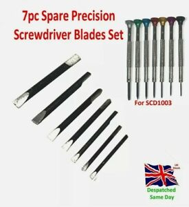 Spare Blades for Precision 7pc Screwdriver Flat Watchmakers Professional Tool