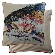 "2 X FILLED TROUT FISH TAPESTRY VELVET GREEN RED 18"" - 45CM CUSHIONS"
