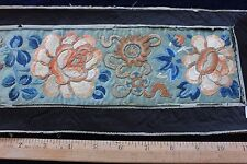 "Lovely 19thC Antique Chinese Blindstitch Silk Sleeves In Silk Frame~32""L X 6""W"