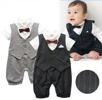 Baby Toddler Boy Wedding Christening Formal Tuxedo Suit Outfit One Piece Clothes