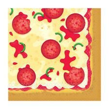 HAPPY BIRTHDAY Pizza Party LUNCH NAPKINS (16) ~ Supplies Serviettes Dinner Large