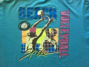 VINTAGE 1990s BEACH VOLLEYBALL NEON T-SHIRT vtg 1980s ocean waves big logo skate