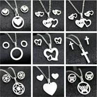 Stainless Steel Women Silver Jewelry Set  Pendant Earrings Necklace Xmas Gift