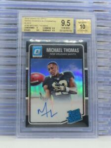 2016 Donruss Optic Michael Thomas Black Rated Rookie Auto #16/25 BGS 9.5/10 S79