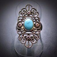Eleganter Antik Style Oval Cabochon Türkis Amethyst Ring 925 Silber 17,8 mm