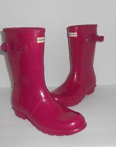 Hunter Women's Classic Mid Calf Glossy Rain Boots Pink Size 9