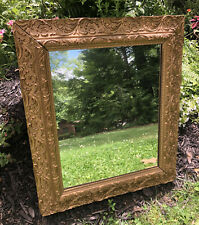 Antique Victorian Wall Mirror Ornate Gilded Gilt Gesso Wood Frame Baroque