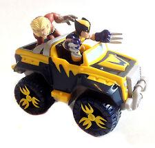 MARVEL COMICS Superhero Squad Wolverine JEEP & Sabretooth Figure Set RARO