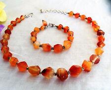 Exquisite Vtg Genuine Carnelian Onyx Necklace Bracelet Set Sterling Strung