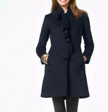 DKNY 10 Navy Coat New Wool Blend Donna Karan Blue Ruffle Dress Work Women Knee