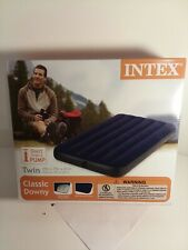 INTEX Twin Size Blue Inflatable Mattress Airbed Indoor Outdoor Home Travel