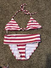 JUICY COUTURE TERRY CLOTH STRIPED BIKINI SWIMSUIT SET SMALL MED