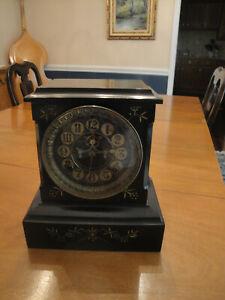 Antique 1880s Ansonia Enameled Cast Iron Mantle Clock w open escapement