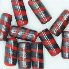 Glass Beads Red Gray Fancy Opaque Tube 22x10mm. Pack of 10. Made in India.