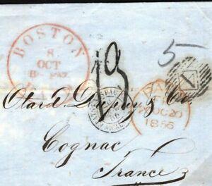 USA TRANSATLANTIC Cover Boston FRANCE Cognac EL BRANDY Inspectors Mark 1856 N147