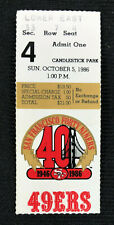San Francisco 49ers Ticket Stub Oct. 5, 1986 Jerry Rice 1st 3 TD Game Colts