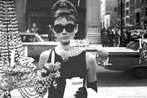 Breakfast At Tiffany's Audrey Hepburn Black & White Poster 24 x 36