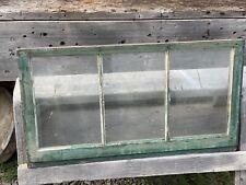 "Vintage Wood 3 Pane Window, Green ~ No Cracks or Rot ~ 30 1/2""W x 16 1/2"""
