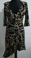 Gold Chain Baroque Black Wrap Dress Size 8 Ruffle Hem 3/4 length sleeves