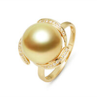 AAA++ 12.1mm Rich Golden South Sea Cultured Pearl Ring 14K Solid Yellow Gold 7#