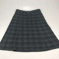 Christopher & Banks Womens Grey Plaid Calf Length Skirt Size 10 NWT