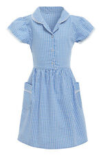 Girls School Dress Marks and Spencer 100% Cotton Gingham Check Blue Red Yellow