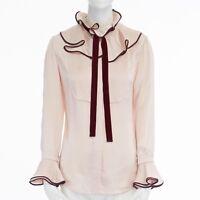 ROKSANDA pink raw hammered silk ruffle collar flared sleeve shirt top UK6 XS
