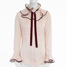 b745cb61b9722 ROKSANDA pink raw hammered silk ruffle collar flared sleeve shirt top UK6 XS