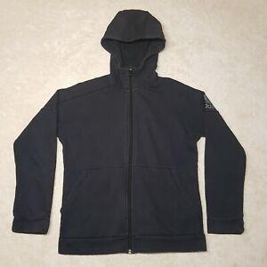 Adidas Sweater Women Medium Black Spell Out Logo Full Zip Hoodie Pockets Ladies