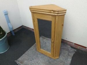 Pine 1 door corner mirror bathroom cabinet made by our own carpenters.