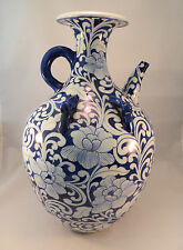 Antique Chinese Blue & White Porcelain Pitcher Vase Flowers China