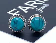 Beautiful 925 Sterling Silver Turquoise Round Designer Earrings Studs Gemstone