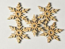Heart Snow Flake hanging tree decorations X 5
