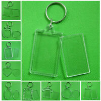 2-10Pcs Rectangle/Heart Transparent Blank Photo Picture Frame Keyring Keychain