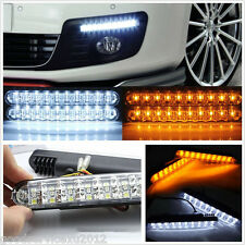 2 X Dual Color 30LED Car Daytime Running Lights DRL Turn Signal Lamp Waterproof