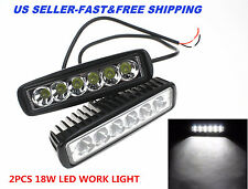 2X CREE 6INCH 18W LED WORK LIGHT BAR FLOOD LAMP OFFROAD DRIVING FOG 4WD UTE SUV