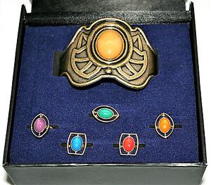 Marvel Comics Avengers End Game Infinity Stones 5 Ring Bracelet Box Set New NOS