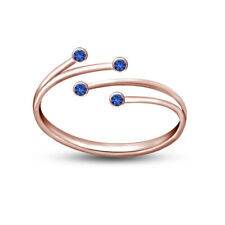 14K Rose Gold Over 925 Silver Adjustable Bypass Toe Ring in Blue Sapphire