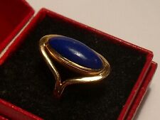 14ct carat Kt Rose Gold and Royal Blue Lapis Cabochon Ring. Approx L  US 6