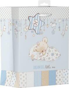 Boys Blue Baby Shower Gift Bag Medium Teddy Asleep Dreaming Mum To Be Luxury