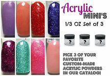 Acrylic Powder MINI's - Three 1/3 Oz Jars /w ANY COLOR OF YOUR CHOICE