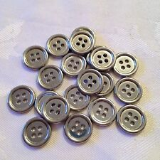 20 x 14mm Stainless Steel Look Buttons #163