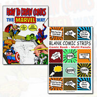 Comics Collection How to Draw Comics Marvel Way & Blank Comic Strips 2 Books Set