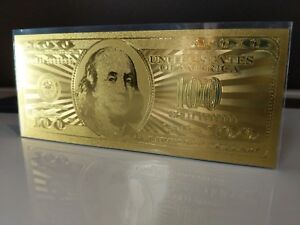 .999Pure 24K Gold $100 Dollar Bill. / 2 Side Novelty Note