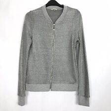 RIVER ISLAND Size 8 UK Knitted Metallic Foil Sparkly Zipped Cardigan VGC